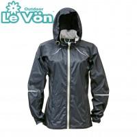 【LeVon】女抗紫外線單層風衣-黑-LV3342