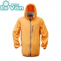 【LeVon】男抗紫外線單層風衣-桔-LV3449