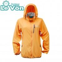 【LeVon】女抗紫外線單層風衣-桔-LV3451