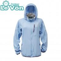 【LeVon】女抗紫外線單層風衣-煙藍-LV3452
