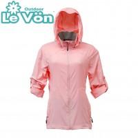【LeVon】女抗紫外線單層風衣-桃粉紅-LV3453