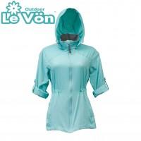 【LeVon】女抗紫外線單層風衣-綠湖藍-LV3455
