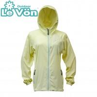 【LeVon】女抗紫外線單層風衣-奶油黃-LV3456