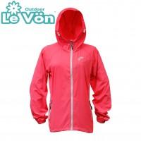 【LeVon】女抗紫外線單層風衣-桃紅-LV3457