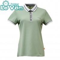 【LeVon】女吸濕排汗抗UV短袖POLO衫-森林綠-LV7425