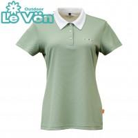 【LeVon】女吸濕排汗抗UV短袖POLO衫-森林綠-LV7426