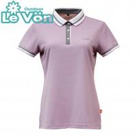 【LeVon】女吸濕排汗抗UV短袖POLO衫-芋紫-LV7427