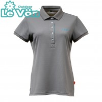 【LeVon】女吸濕排汗UV短袖POLO衫-鐵灰-LV7430