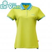 【LeVon】女吸濕排汗抗UV短袖POLO衫-淺綠-LV7431