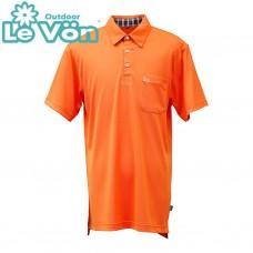 【LeVon】男吸濕排汗抗UV短袖POLO衫-桔-LV7448