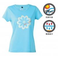 【LeVon】MIT女吸濕排汗抗UV短袖圓領衫- 水藍LV6205