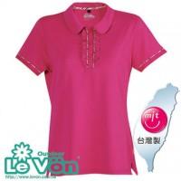 【LeVon】女吸濕排汗抗UV短袖POLO衫-桃紅-LV7271
