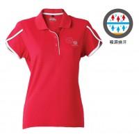 【LeVon】女吸濕排汗抗UV短袖涼感POLO衫-紅LV7276