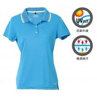 【LeVon】女吸濕排汗抗UV短袖POLO衫-深天藍 LV7291