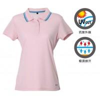 【LeVon】女吸濕排汗抗UV短袖POLO衫-淺粉紅 LV7292