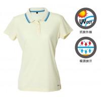 【LeVon】女吸濕排汗抗UV短袖POLO衫-奶油黃 LV7293