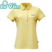 【LeVon】女吸濕排汗UV短袖POLO衫-奶油黃-LV7429