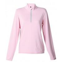 【LeVon】女涼感吸濕排汗抗UV長袖POLO衫-嫩粉紅-LV8285