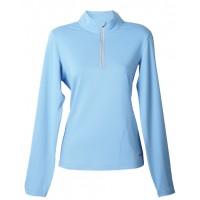 【LeVon】女涼感吸濕排汗抗UV長袖POLO衫-天藍-LV8286